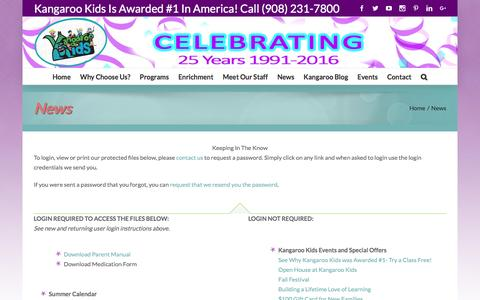 Screenshot of Press Page kangarookidschildcare.com - News – Kangaroo Kids Childcare: Preschool, Kindergarten, Summer Camp, and hands-on-learning classes in Bridgewater, Clinton, Whitehouse Station, and Branchburg NJ area for infants and toddlers – New Jersey (NJ) - captured Nov. 27, 2016