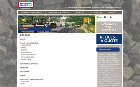 Screenshot of Site Map Page pennsysupply.com - Site Map | Quality Construction Materials |  Pennsy Supply - captured Oct. 2, 2014