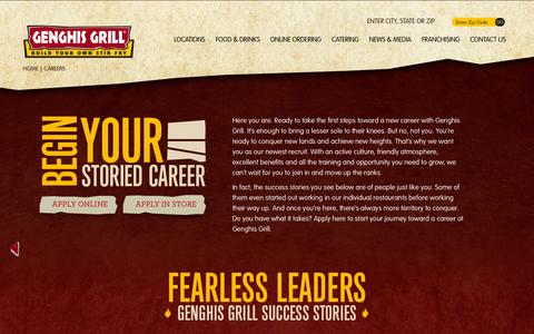 Screenshot of Jobs Page genghisgrill.com - Genghis Grill - Genghis Restaurant Career Options | Mongolian Grill Locations | Mongolian Grill Restaurants - captured Oct. 28, 2014