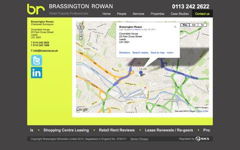 Screenshot of Contact Page brassrow.co.uk - Contact Details - captured Oct. 5, 2014