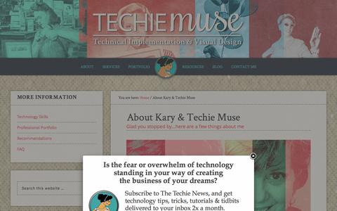 Screenshot of About Page techiemuse.com - About Kary & Techie Muse | Techie Muse - captured Jan. 14, 2016