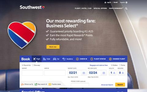 Screenshot of Home Page southwest.com - Southwest Airlines | Book Flights, Airline Tickets, Airfare - captured Feb. 20, 2016