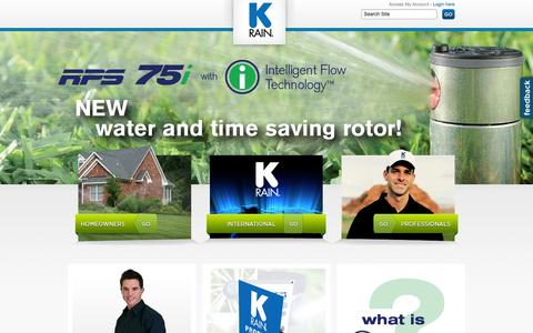 Screenshot of Home Page krain.com - K-Rain: Sprinkler Systems, Irrigation Systems, Lawn and Landscape Irrigation  - KRain - captured Oct. 3, 2014
