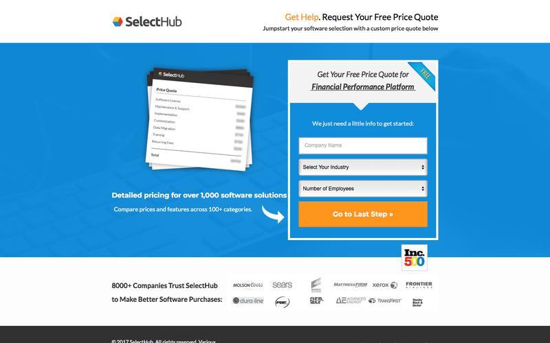 Get Pricing Information for Financial Performance Platform