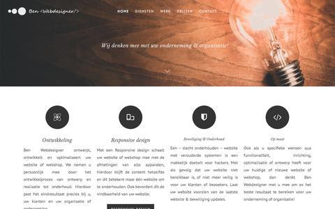 Screenshot of Home Page benwebdesigner.nl - Voor uw responsive webdesign en webrealisaties op maat - captured July 28, 2016