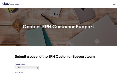 Screenshot of Contact Page ebay.com - Contact Us — eBay Partner Network - captured Sept. 19, 2017