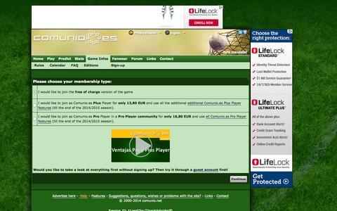 Screenshot of Signup Page comunio.es - COMUNIO football manager, soccer manager, fantasy football, Liga BBVA manager - captured Oct. 29, 2014