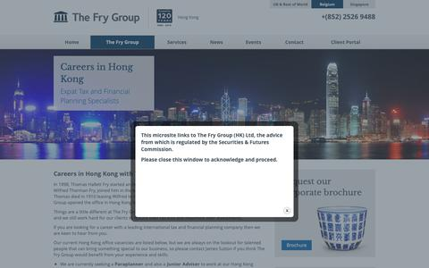 Screenshot of Jobs Page thefrygroup.hk - Careers in Hong Kong - Tax and Financial Planning - captured Oct. 22, 2018