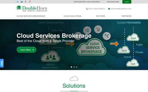 Screenshot of Home Page doublehorn.com - Cloud Services Brokers | Government & Enterprise | DoubleHorn - captured Sept. 12, 2015