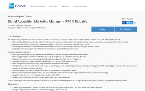 Screenshot of Jobs Page americanexpress.com - Apply For American Express Digital Acquisition Marketing Manager – PPC & Biddable job - Digital Commerce, Marketing - Singapore, Singapore - captured Oct. 26, 2016