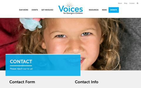 Screenshot of Contact Page georgiavoices.org - Contact - Voices for Georgia's Children - captured Oct. 19, 2018