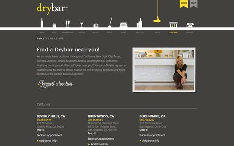 Screenshot of Locations Page thedrybar.com - Find A Drybar Location Near You - The Premier Blow Out Bar - captured June 16, 2015