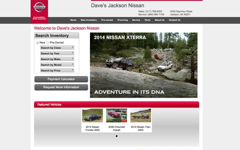 Screenshot of Home Page About Page Contact Page Jobs Page Site Map Page Maps & Directions Page davesjacksonnissan.com - Dave's Jackson Nissan | New Nissan dealership in Jackson, MI 49201 - captured Sept. 30, 2014