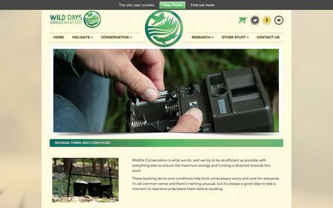 Screenshot of Terms Page wilddaysconservation.org - Terms and Conditions   Wild Days Conservation - captured Oct. 1, 2014