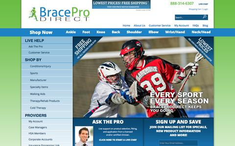 Screenshot of Site Map Page braceprodirect.com - BracePro Direct - captured Oct. 29, 2014