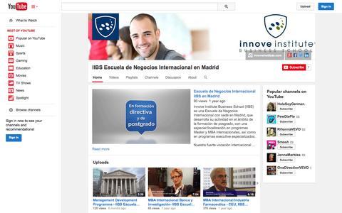 Screenshot of YouTube Page youtube.com - IIBS Escuela de Negocios Internacional en Madrid  - YouTube - captured Oct. 23, 2014