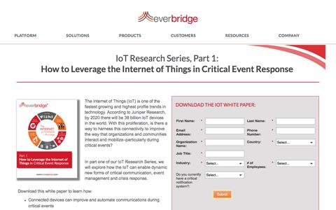 Screenshot of Landing Page everbridge.com - Internet of Things (IoT) Research Critical Response - captured Oct. 2, 2016