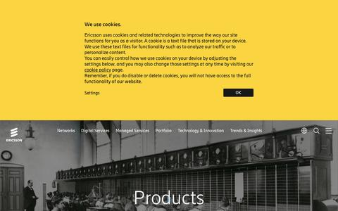 Screenshot of Products Page ericsson.com - Products - captured Oct. 22, 2018