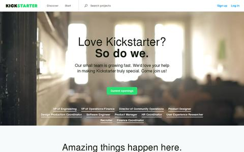 Screenshot of Jobs Page kickstarter.com - Work at Kickstarter — Kickstarter - captured July 21, 2014