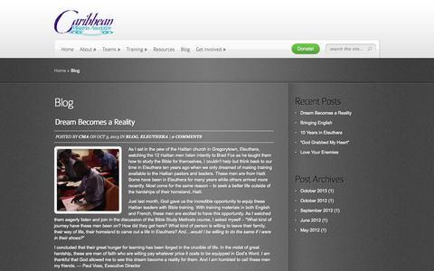 Screenshot of Blog missioncma.com - Blog | Caribbean Ministries Association - captured Oct. 1, 2014