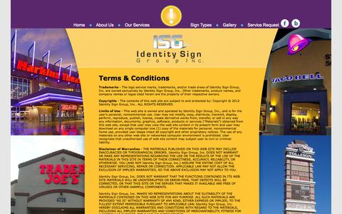 Screenshot of Terms Page identitysign.net - Terms & Conditions - Identity Sign Group, Inc. | www.identitysign.net - captured Oct. 6, 2014