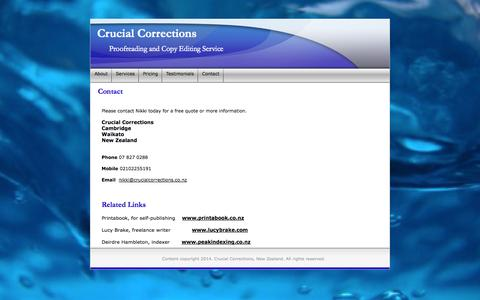 Screenshot of Contact Page crucialcorrections.co.nz - New Zealand Proofreading and Copy Editing - captured Sept. 30, 2014