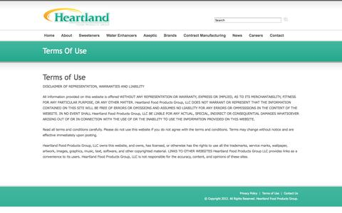 Screenshot of Terms Page heartlandfpg.com - Heartland Food Products Group - captured Oct. 2, 2014