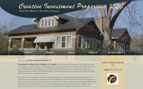 Screenshot of Home Page creative-investmentsinc.com - Creative Investments, Inc. - Homes to Buy and Homes for Sale in the Raleigh and Knightdale Community - captured Sept. 30, 2014