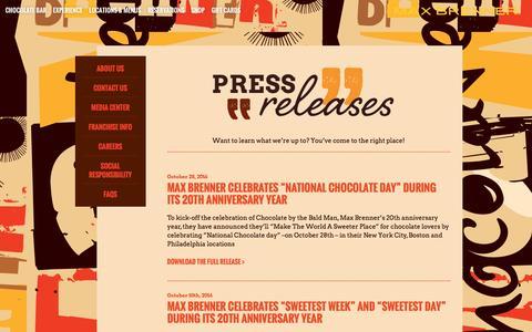 Screenshot of Press Page maxbrenner.com - Max Brenner Press Releases - captured Nov. 6, 2016