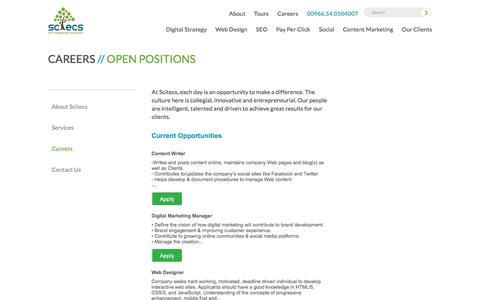 Screenshot of Jobs Page scitecs.com - Scitecs - Open Positions - captured July 20, 2016
