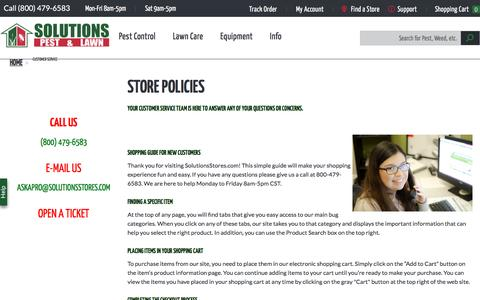 Screenshot of Privacy Page Terms Page solutionsstores.com - Customer Service | Solutions Pest & Lawn - captured Feb. 17, 2017