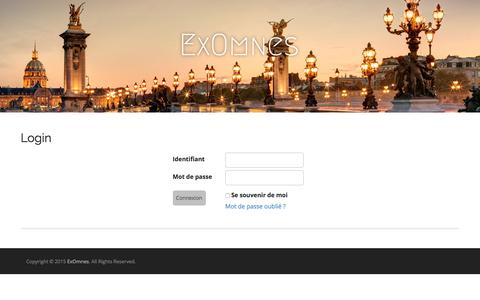 Screenshot of Login Page exomnes.com - Login | ExOmnes - captured Dec. 13, 2015