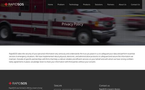 Screenshot of Privacy Page rapidsos.com - Privacy Policy | RapidSOS - captured Oct. 29, 2014