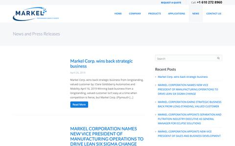Screenshot of Press Page markelcorporation.com - News and Press Releases Archives - Markel - captured April 26, 2019