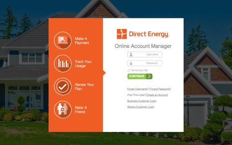 Screenshot of Login Page directenergy.com - MyAccount: Login To Your Account - captured June 9, 2019