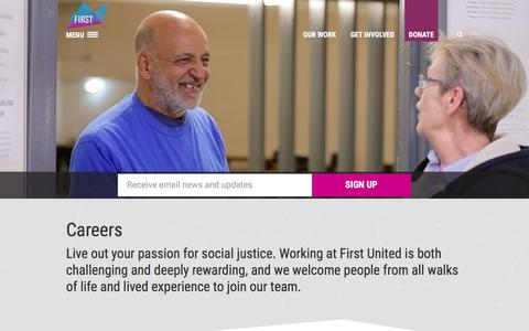 Screenshot of Jobs Page firstunited.ca - First United | Careers - First United - captured Oct. 13, 2017