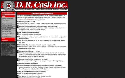 Screenshot of FAQ Page drcashinc.com - FAQ's - D. R. Cash Inc. - captured Sept. 30, 2014