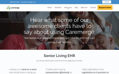 Screenshot of Testimonials Page caremerge.com - Testimonials - Caremerge - captured June 13, 2018