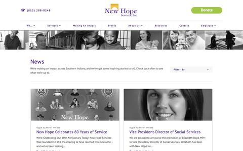 Screenshot of Press Page newhopeservices.org - News - New Hope Services, Inc. - captured Sept. 20, 2018