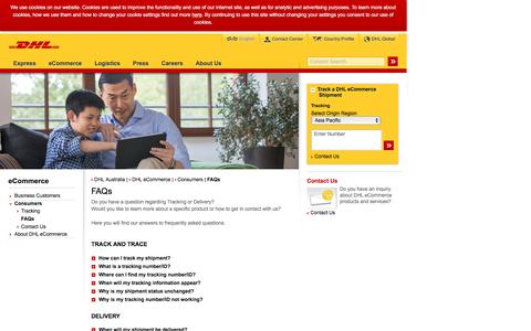 Screenshot of FAQ Page dhl.com.au - DHL | FAQs | English - captured Dec. 24, 2016
