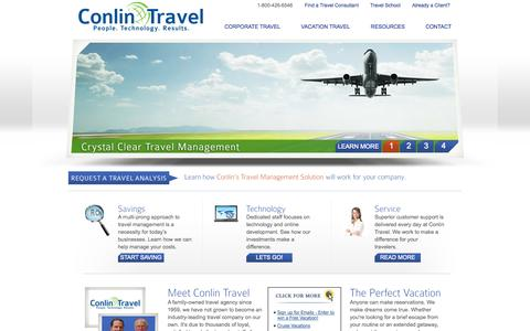 Screenshot of Home Page conlintravel.com - Welcome to Conlin Travel - A family-owned travel agency since 1959. - captured Sept. 30, 2014