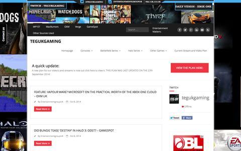 Screenshot of Home Page teg-uk.co.uk - TEGUKGAMING - Home - captured Oct. 9, 2014