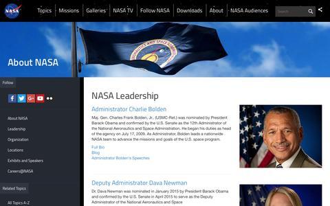 Screenshot of Team Page nasa.gov - NASA Leadership | NASA - captured March 30, 2016