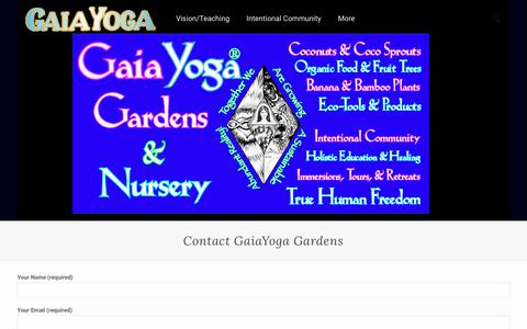Screenshot of Contact Page gaiayoga.org - Contact GaiaYoga Gardens - GaiaYoga - captured July 4, 2018