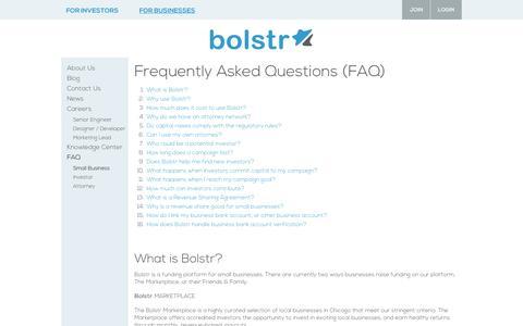Screenshot of FAQ Page bolstr.com - Bolstr || Small Business - captured Sept. 30, 2014