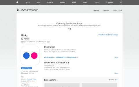 Screenshot of iOS App Page apple.com - Flickr on the App Store on iTunes - captured Oct. 22, 2014