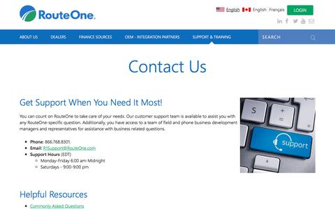 Screenshot of Contact Page routeone.com - Contact Us | RouteOne - captured Jan. 22, 2018