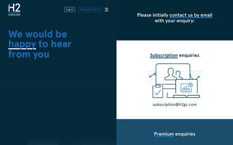 Screenshot of Contact Page h2gc.com - Contact                  | H2 Gambling Capital - captured Jan. 23, 2016