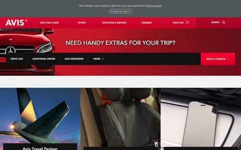Screenshot of avis.co.uk - Car hire extras to make your car rental easy - captured July 16, 2017