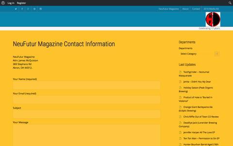 Screenshot of Contact Page neufutur.com - NeuFutur Magazine Contact Information - captured Jan. 19, 2016
